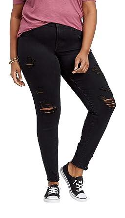 aaf56b424af maurices Women's Plus Size Denimflex TM Black Shredded Jegging 20 Black