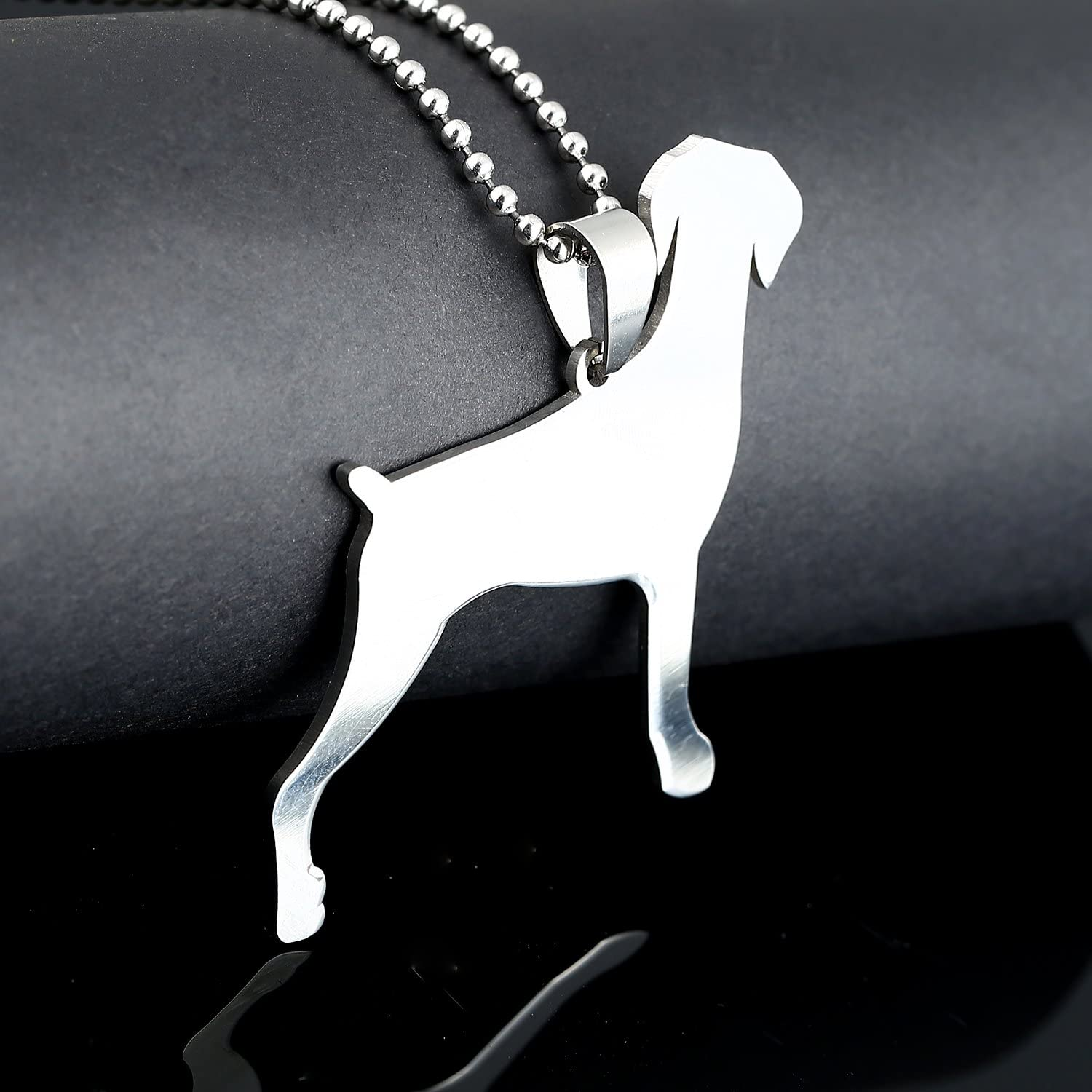 Big Size Stainless Steel Docked Tail Doberman Pinscher Dobie Dog Silhouette Pet Dog Tag Breed Collar Charm Pendant Necklace