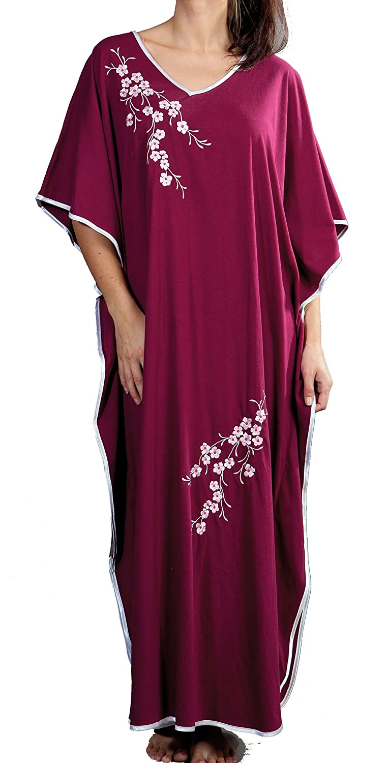 Ladies One Size Kaftans Floral Embroidered Satin Edging Full Length LKAFTAN-9986-Wine
