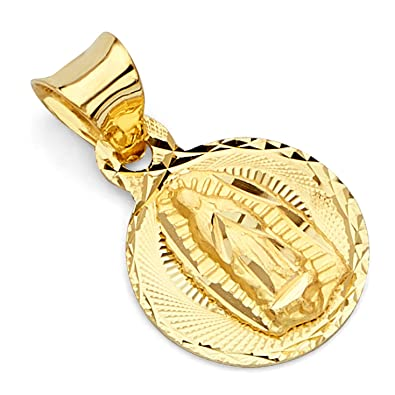 Amazon 14k REAL Yellow Gold Religious Stamp Our Lady Of