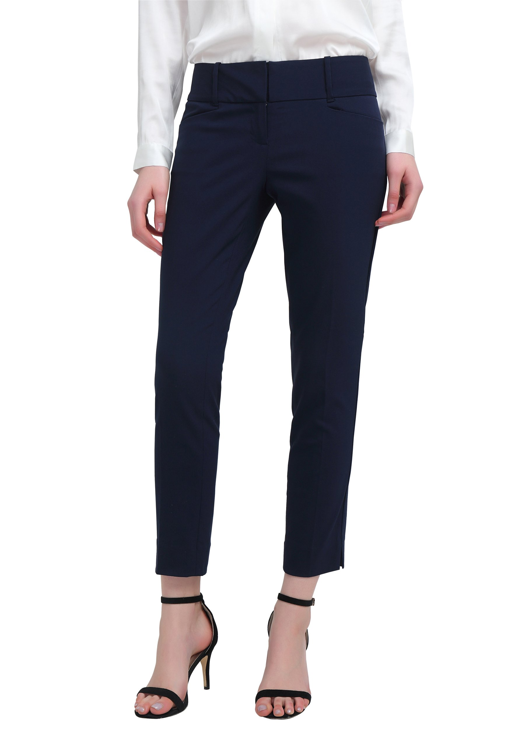 YTUIEKY Women's Stretch Capri Casual Work Ankle Pants Navy