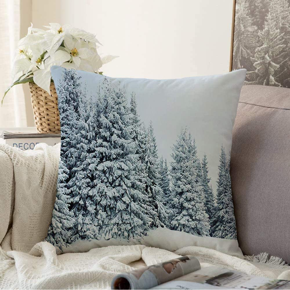 Decorative Throw Pillow Cover Blue Snow Mountain Winter Forest Beauty Fir Nature Woods Green Pine White Evergreen Tree Christmas Cushion Cover for Sofa Home Decoration 18x18 Inch