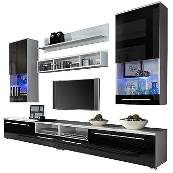 wohnwand anbauwand luna farbauswahl modernes wohnzimmerschrank inkl tv lowboard vitrine