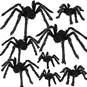 Dreampark Halloween Spider Decorations, 8 Pcs Realistic Hairy Spiders Set, Scary Spider Props for Indoor, Outdoor and Yard Creepy Decor