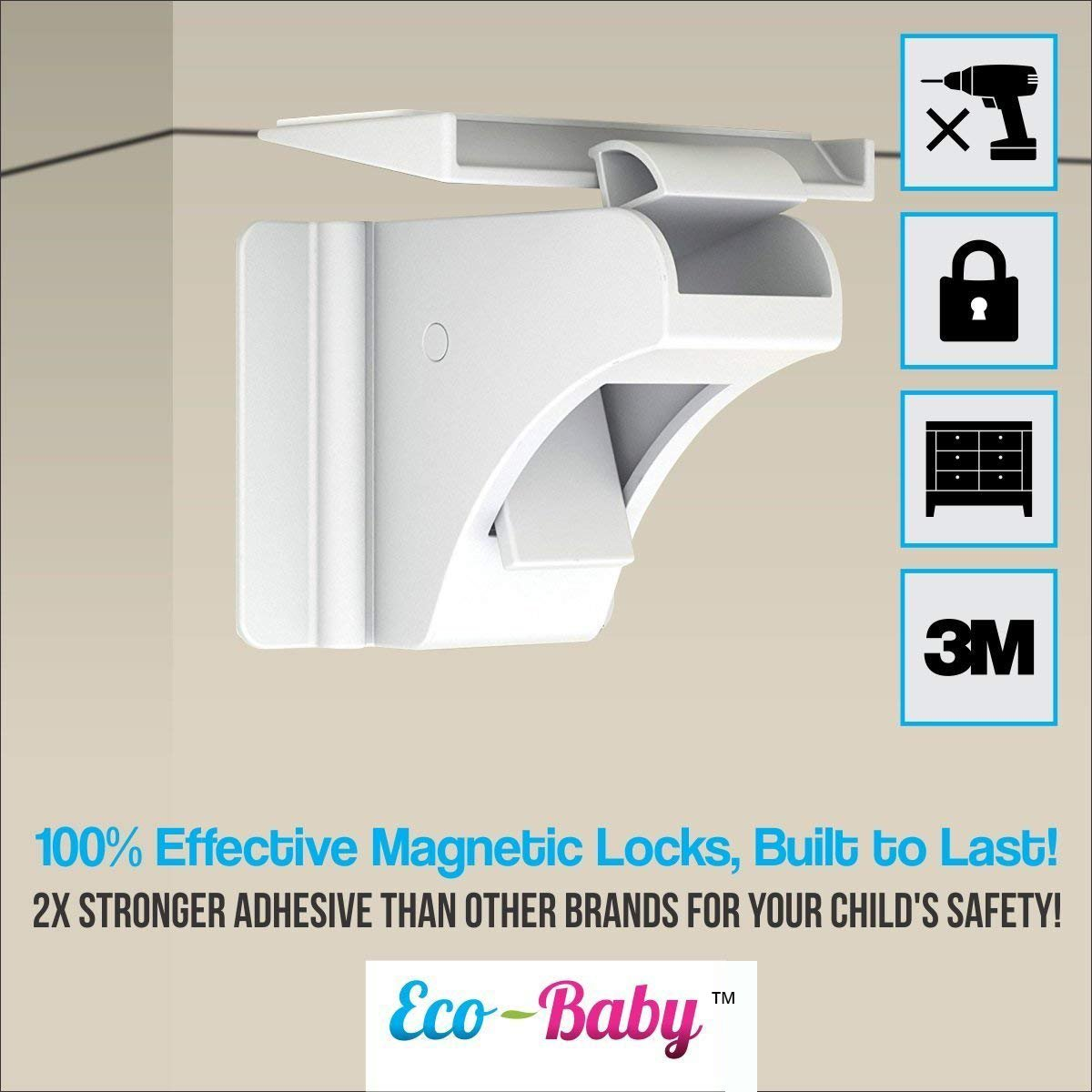 Baby & Child Proof Cabinet & Drawers Magnetic Safety Locks - Heavy Duty Locking System (6 Pack) by Ecobaby (Image #4)