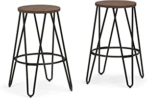 SIMPLIHOME Simeon Industrial Metal 26 inch Metal Counter Height Stool with Wood Seat (Set of 2) in Cocoa Brown / Black
