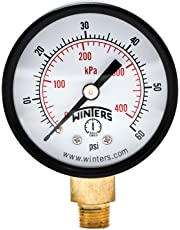 "Winters PEM Series Steel Dual Scale Economical All Purpose Pressure Gauge with Brass Internals, 0-60 psi/kpa, 2"" Dial Display, -3-2-3% Accuracy, 1/8"" NPT Bottom Mount"