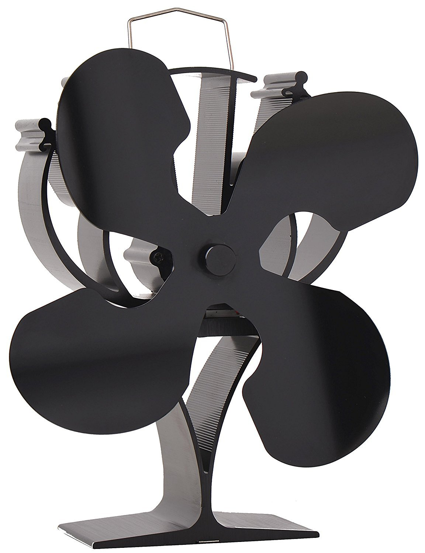 VODA New Designed 4 Blades Heat Powered Stove Fan for Wood/Log Burner/Fireplace - Eco Friendly(Black) by VODA