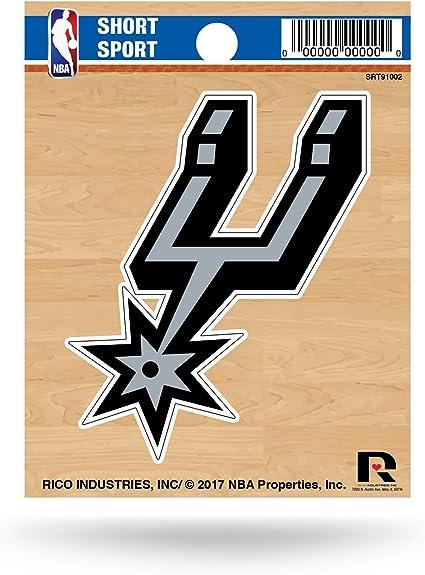 Black 3.5 Rico Industries NBA San Antonio Spurs Logo Short Sport Stickernba San Antonio Spurs Short Sport Decal