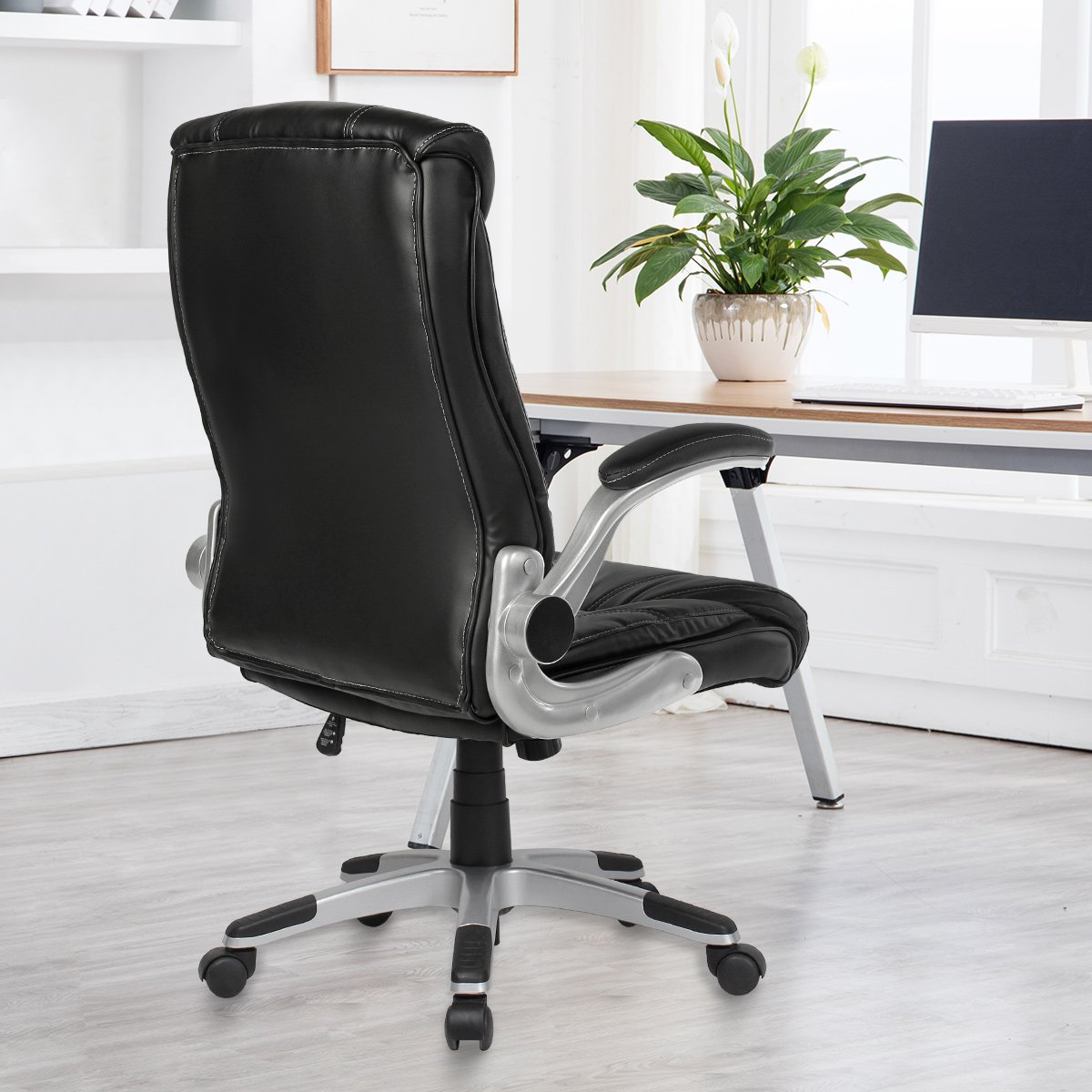 YAMASORO Ergonomic High-Back Executive Office Chair PU Leather Computer Desk Chair with Flip-up Arms and Back Support by YAMASORO (Image #9)