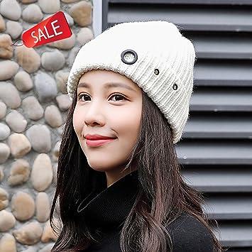 Jh Sombrero de Punto de Mujer Sombrero cálido Otoño Invierno Sombrero Suave  Hinchable Deportes al Aire ee92d1d1e8c
