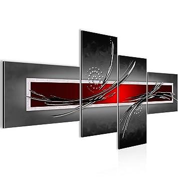 Bilder Abstrakt Wandbild Vlies   Leinwand Bild XXL Format Wandbilder Wohnzimmer  Wohnung Deko Kunstdrucke Rot Grau