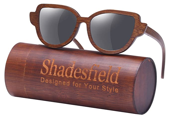 8d1c9112cddc SHADESFIELD Cat Eye Polarized Wood Sunglasses for Women and Men-100% UV  Protection,