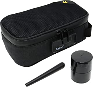 "Stash Bag - 8.5"" x 4.5"" Sidekick Smell Proof Case + Airtight Jar + Smell-Proof Tube - Lionhead (Black Lionhead)"