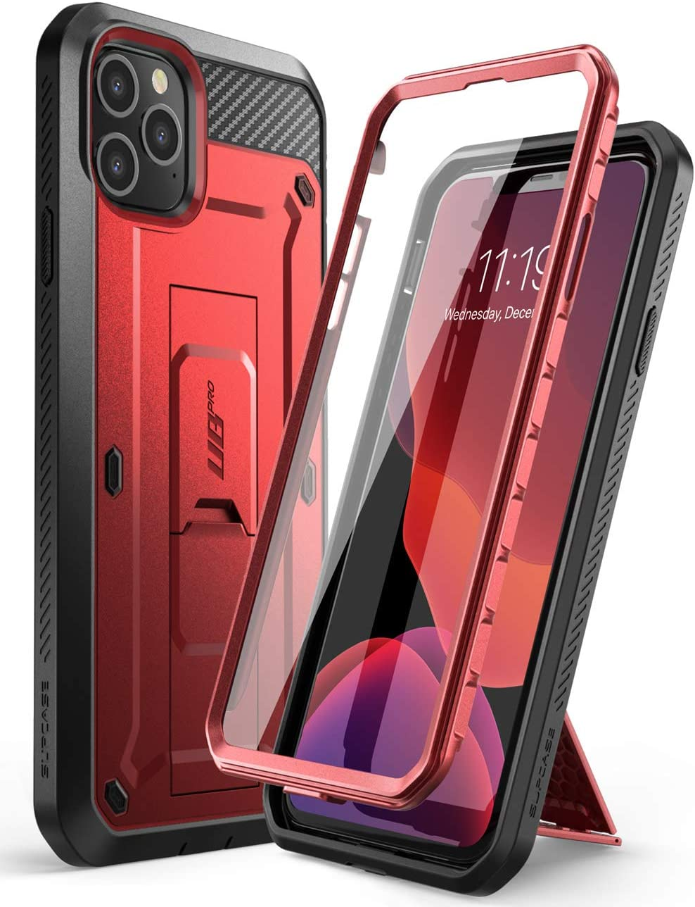 SUPCASE Unicorn Beetle Pro Series Phone Case Designed for iPhone 11 Pro Max 6.5 Inch (2019 Release), Built-in Screen Protector Full-Body Rugged Holster Case (MetallicRed)