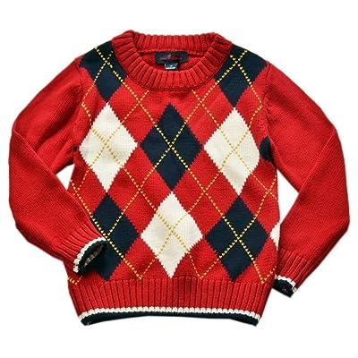 Betusline Baby Boy Girl Crewneck Diamond Plaid Knit Sweater Top