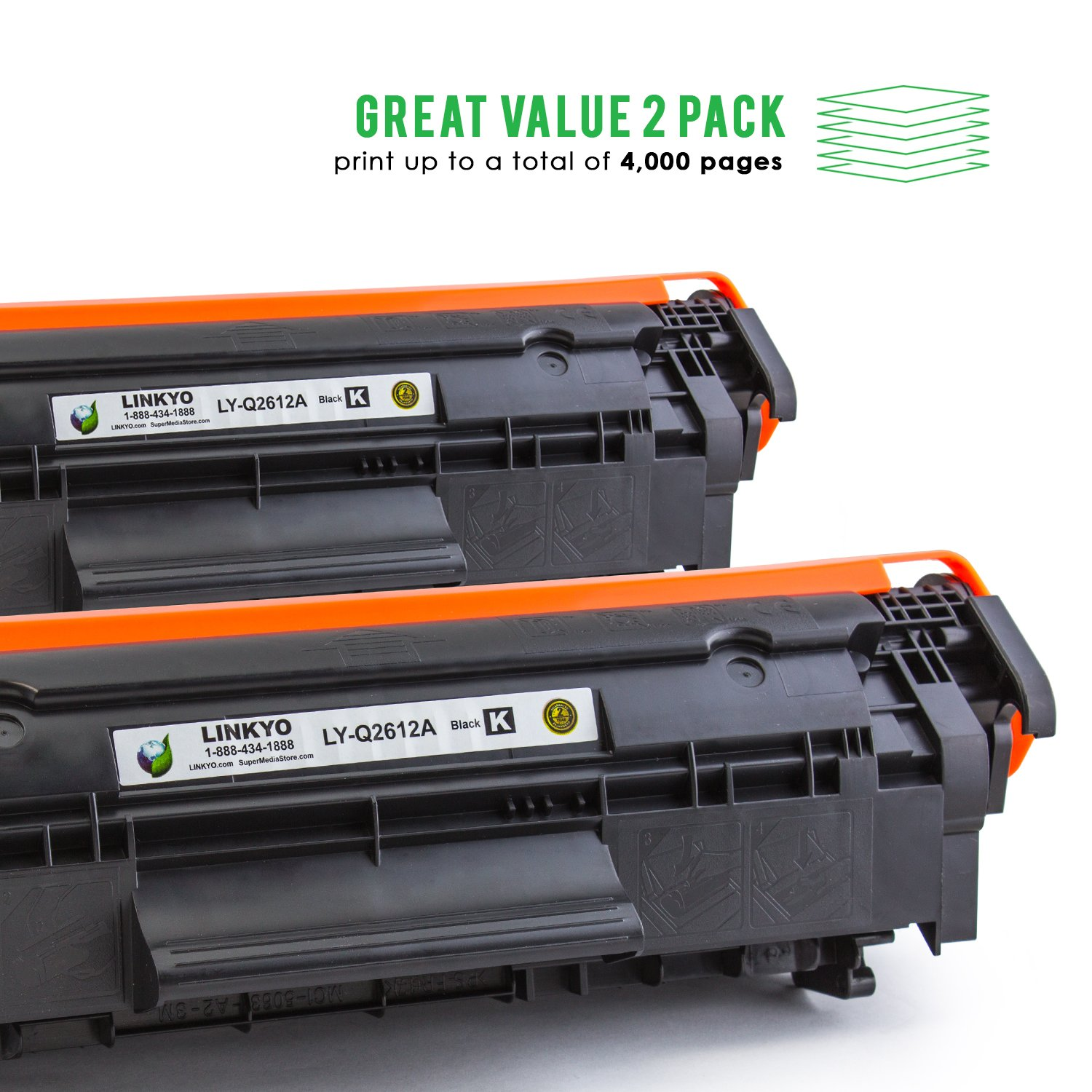 Linkyo Compatible Toner Cartridge Replacement For Hp 12a Q2612a Laserjet Black 2 Pack Ly Q2612ad Laser Printer Drums Office Products Tibs