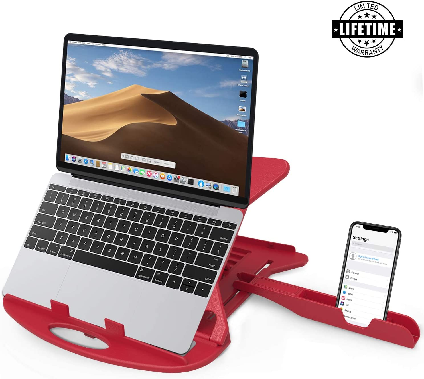 Carnation Adjustable Laptop Stand Patented Riser Ventilated Portable Foldable Swivel Compatible with MacBook Notebook Tablet Tray Desk Table Book with Free Phone Stand and Cable Clip