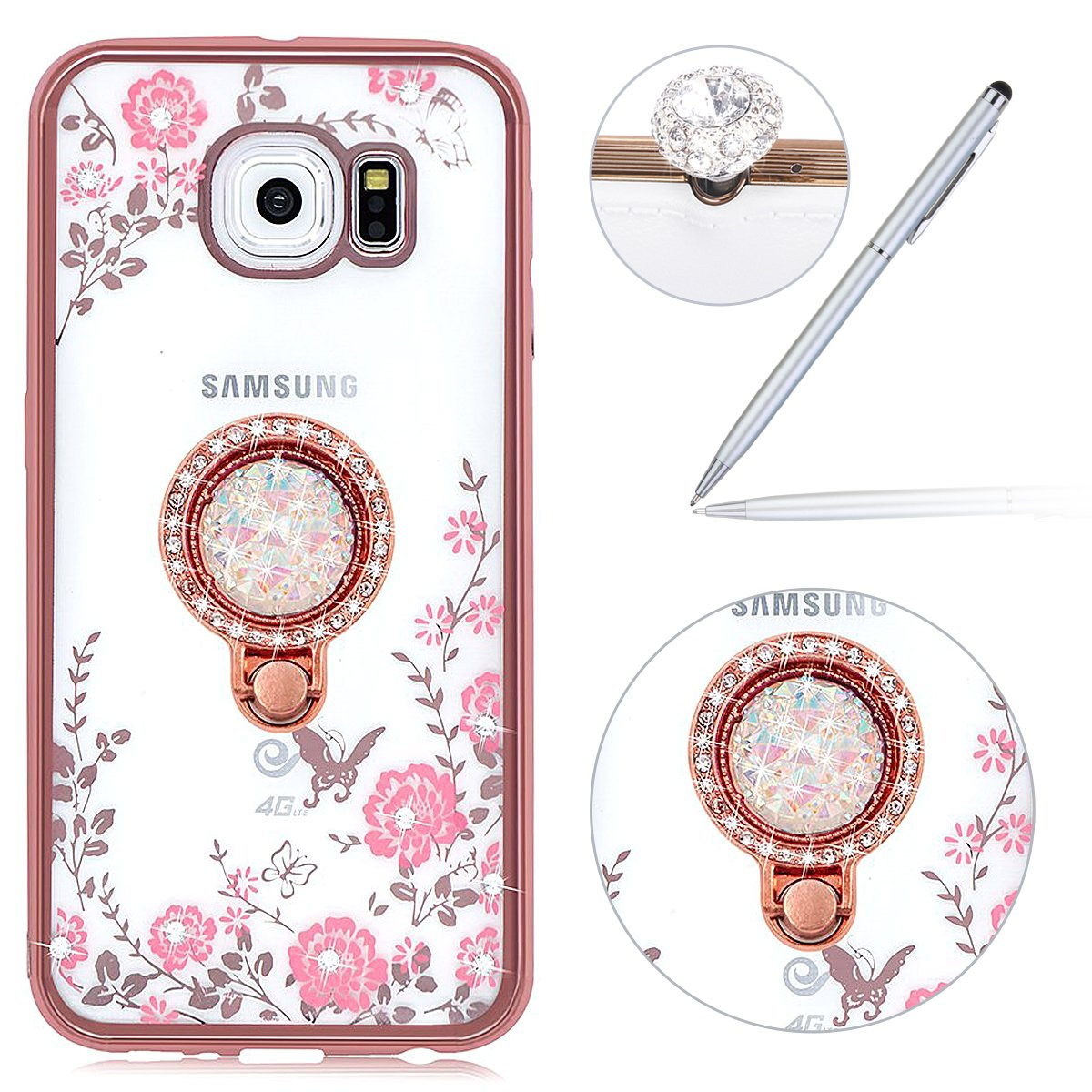 Felfy Galaxy S7 Case,Galaxy S7 Cover Case, 360 Degree Protection Full Body Transparent Clear with Glitter Cover Soft TPU Silicone Flexible Anti-Scratch Abrasion Resistance Cover Case Smart Phone Shell for Samsung Galaxy S7 + 1 Sliver Stylus Pen + Bling Dus