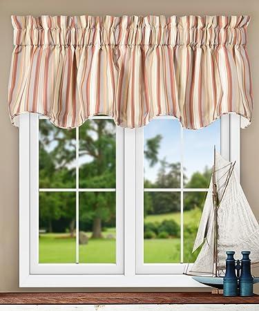 Multi-color Stripe Valance Curtain Window Treatment