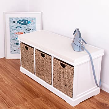 White Wooden Storage Bench Seater With 3 Sea Grass Basket Drawers Cabinet  Chest Of Drawer