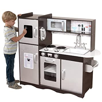 Large Play Kitchen Children\'s Wooden Toy Boys Girls Kids Role Play - Brown  (Kitchen Only)