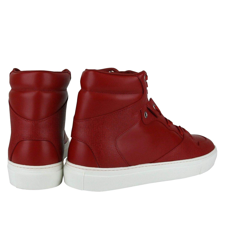 9eb36f0b312 Amazon.com | Balenciaga Men's Hi Top Dark Red Leather/Coated Canvas Sneaker  391205 | Fashion Sneakers