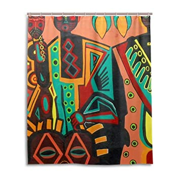 JSTEL Decor Shower Curtain African Art Pattern Print 100 Polyester Fabric 60 X