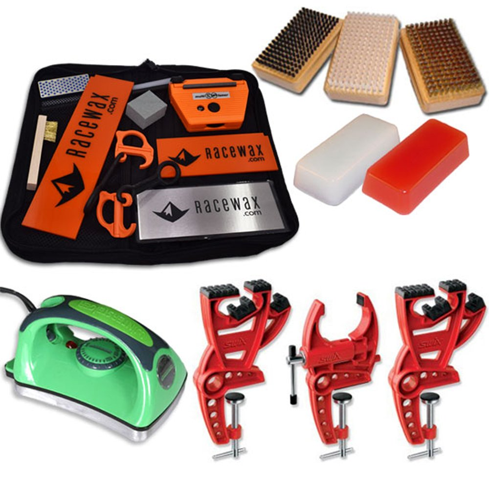 Ski Tune Race Kit with 3 Piece Vise, Iron, 3 Brushes Tools Wax