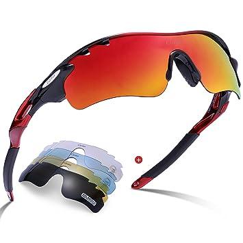 Lunettes de Cyclisme,BATFOX Lunettes de Soleil Sport Polarisées Lunettes de Sport Incassables avec Lentille de Protection UV400 pour Hommes et Femmes