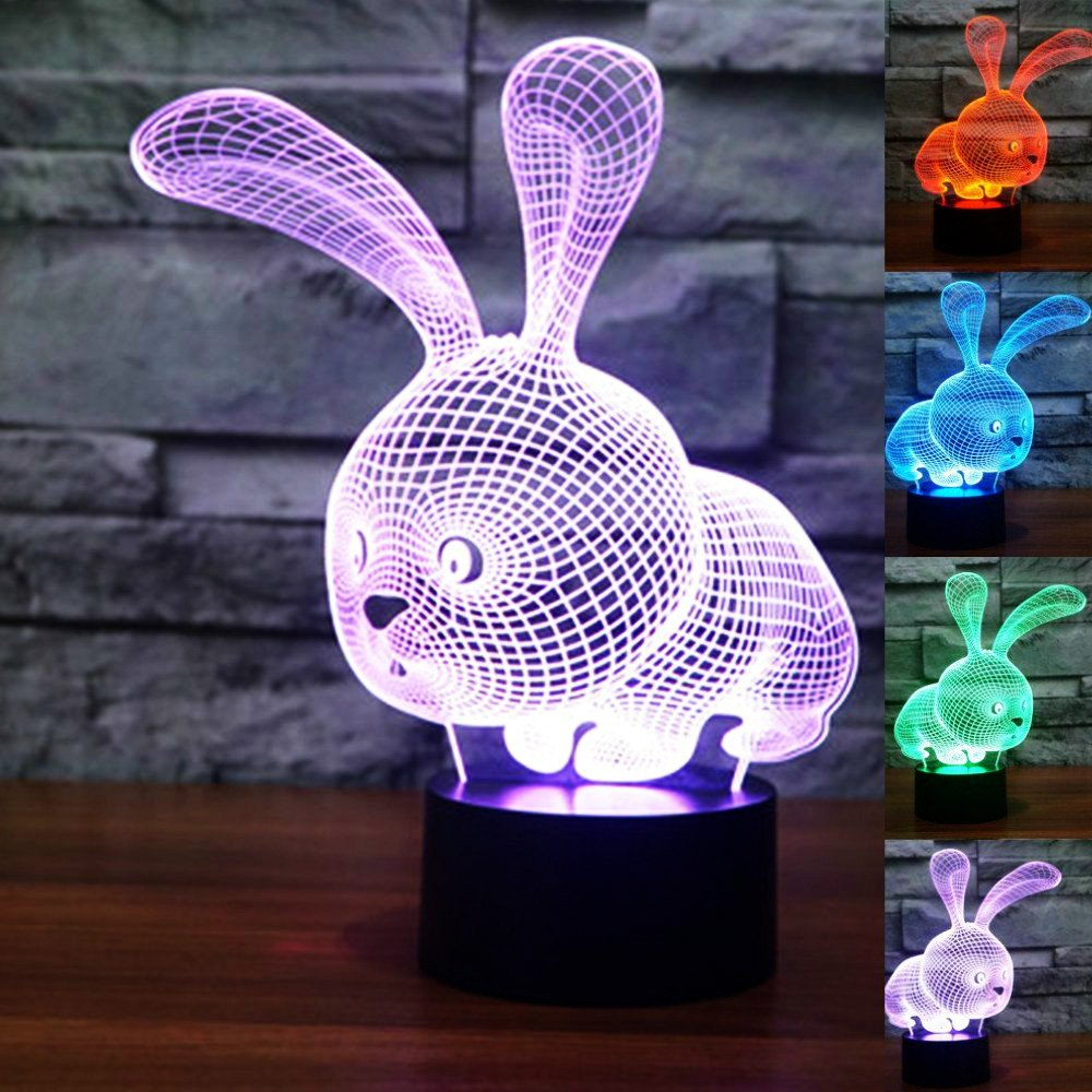New 3D Rabbit Night Light Animal Lights Touch Switch Table Desk Optical Illusion Lamps 7 Color Changing Lights LED Table Lamp Xmas Home Love Brithday Children Kids Decor Toy Gift