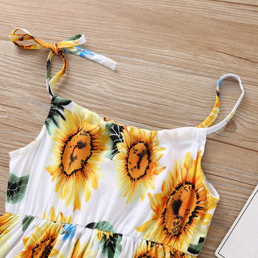 Girls Clothing Set Toddler Baby Girls Princess Floral Sunflower Beach Party Casual Dress Clothes 0-24 Months