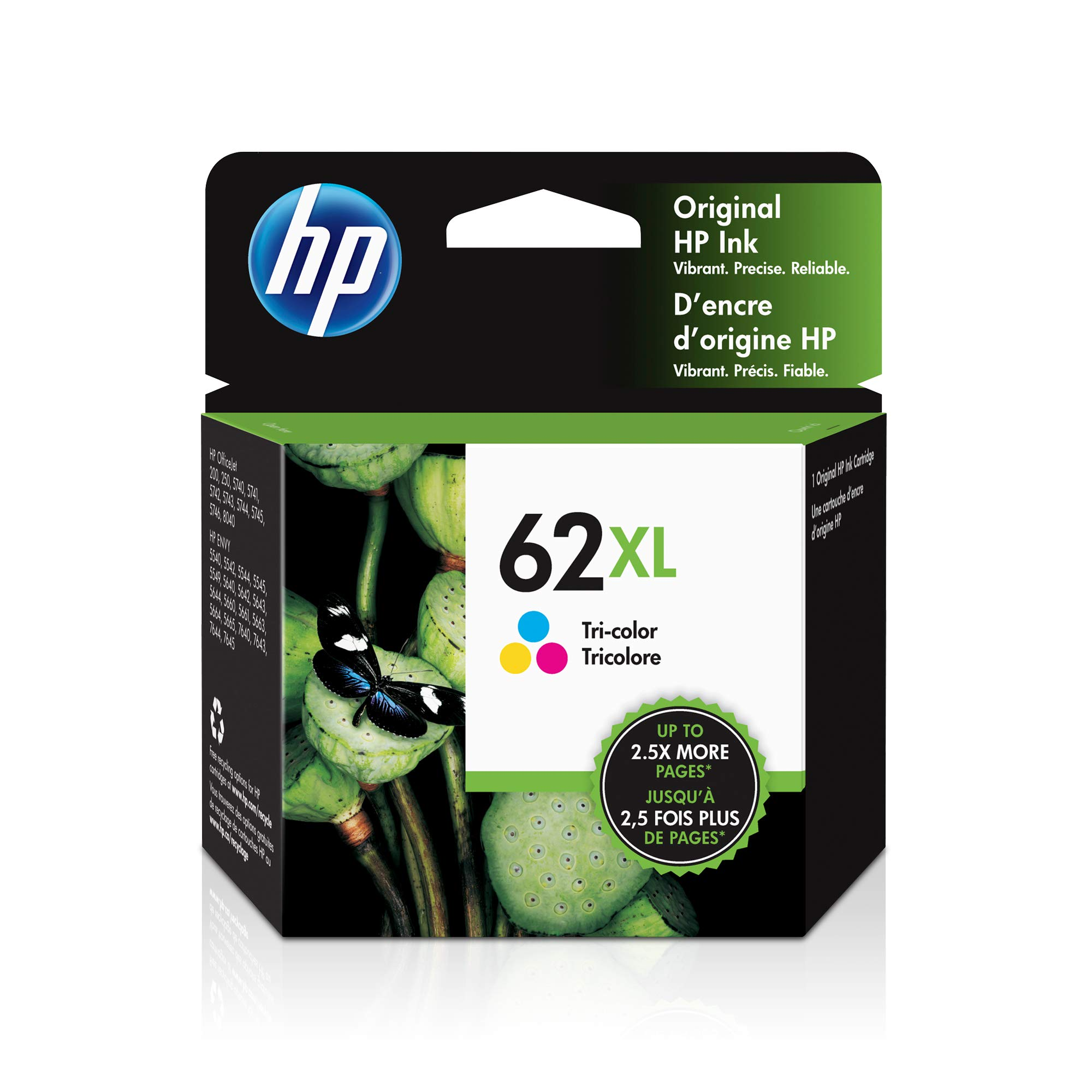 HP 62XL | Ink Cartridge | Works with HP ENVY 5500 Series, 5600 Series, 7600 Series, HP Officejet 200, 250, 258, 5700 Series, 8040 | Tri-color | C2P07AN