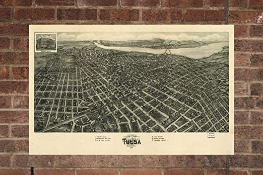 Amazon Com Lumaprints Canvas Memoirs Vintage Tulsa Oklahoma Map Aerial Tulsa Oklahoma Photo Vintage Tulsa Oklahoma Wa Pic Old Tulsa Oklahoma Photo Tulsa Oklahoma Poster 1918 Home Decor Wall Art Posters Prints