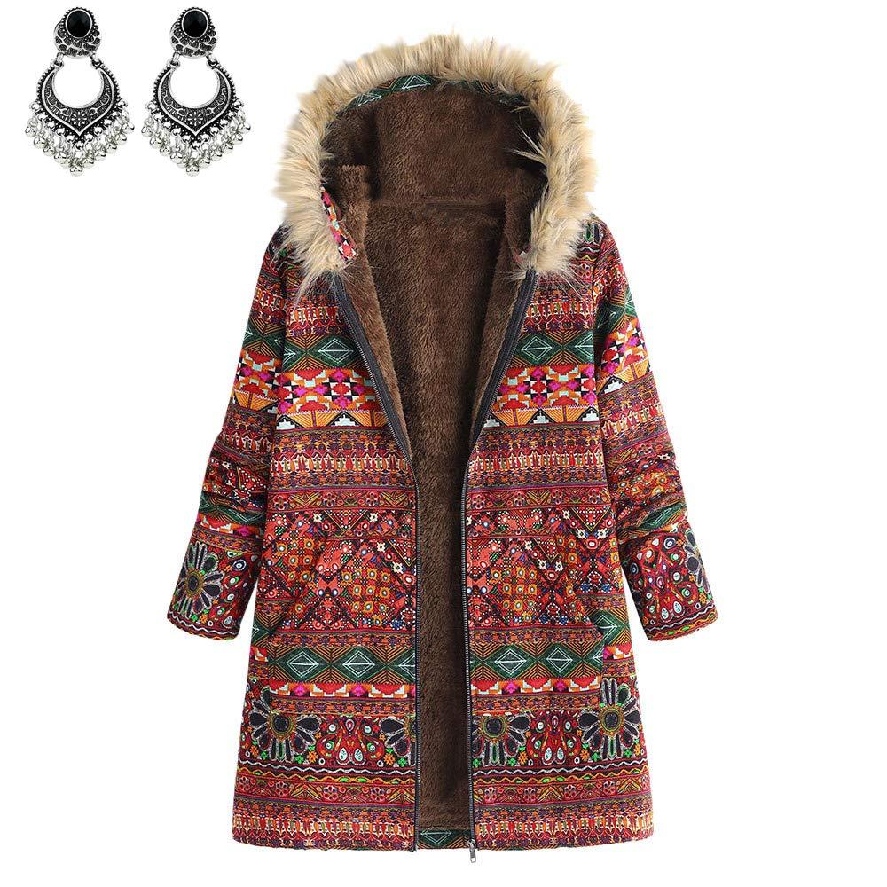 Styledresser Donna Inverno Caldo Outwear Floreale Stampare Cappuccio Tasche Vintage ▾ Oversize Cappotti Abbigliamento Sportivo 21.88