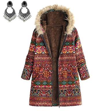 Styledresser Donna Inverno Caldo Outwear Floreale Stampare Cappuccio Tasche  Vintage ▾ Oversize Cappotti Abbigliamento Sportivo  Amazon.it  Abbigliamento b03d8f9dd787
