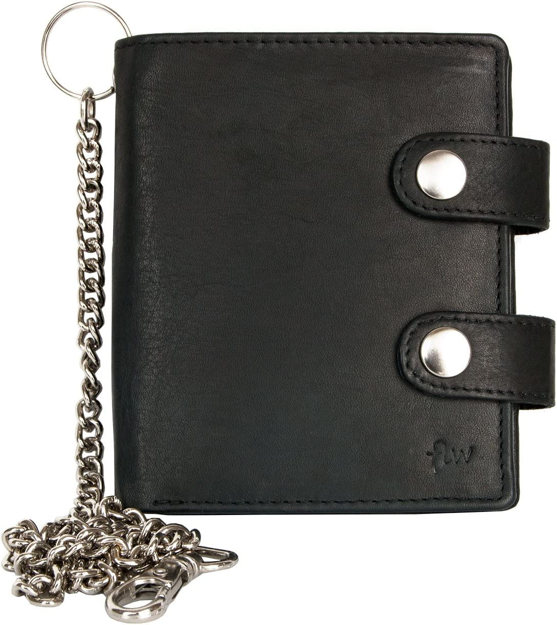 FLW Cartera grande negro estilo motero de cuero con cadena de metal
