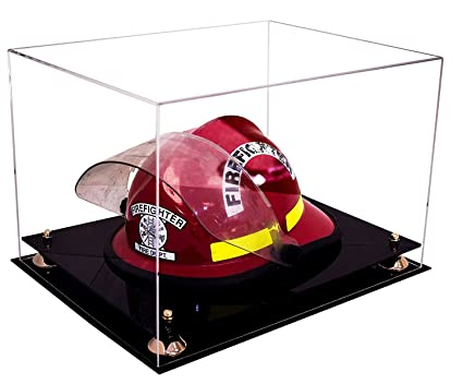 c1a296072a9 Deluxe Clear Acrylic Fireman s Helmet Large Display Case with Gold Risers  ...