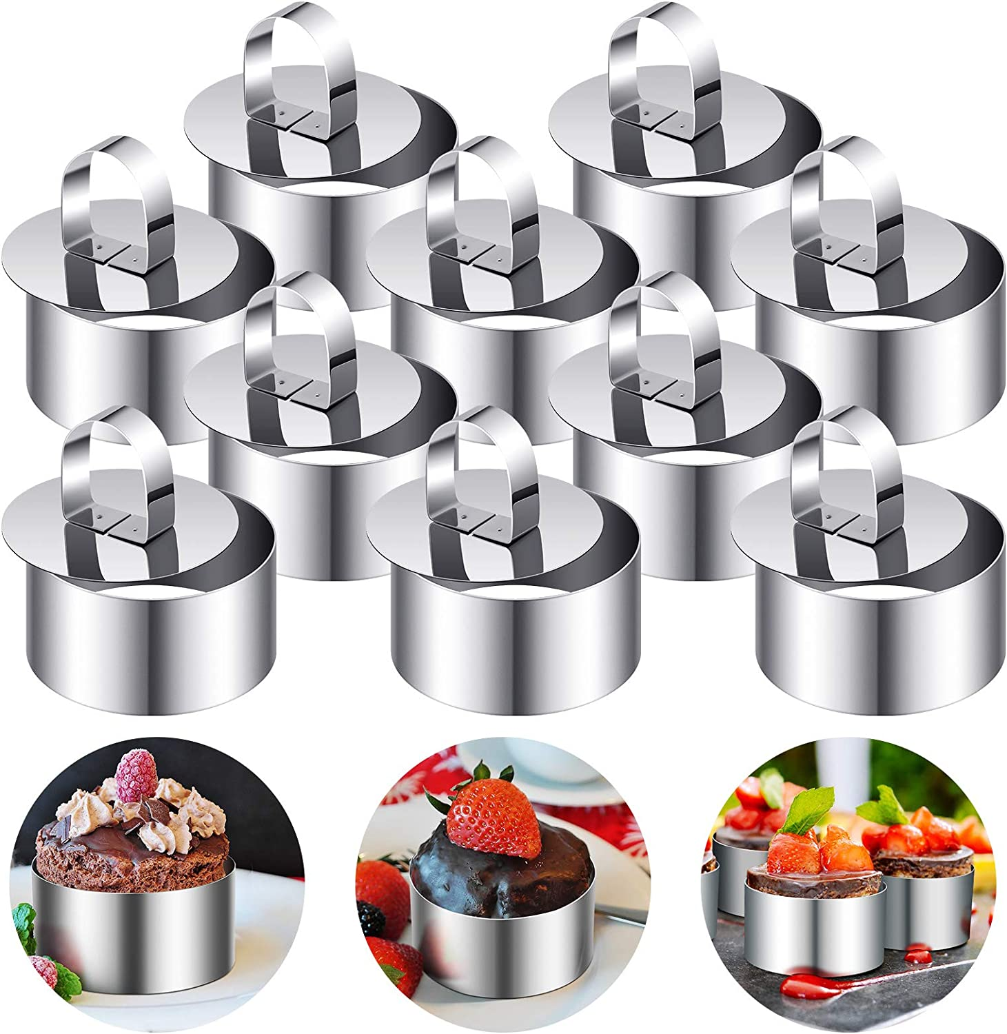 20 Pieces Round Stainless Steel Cake Ring Cake Mousse Mold with Pusher Food Forming Rings Cake Baking Rings for Home Kitchen Baking Tool