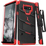 Zizo Bolt Series Galaxy Note 9 Case with Holster, Lanyard, Military Grade Drop Tested and Tempered Glass Screen Protector for Samsung Galaxy Note 9 Cover - Black/Red