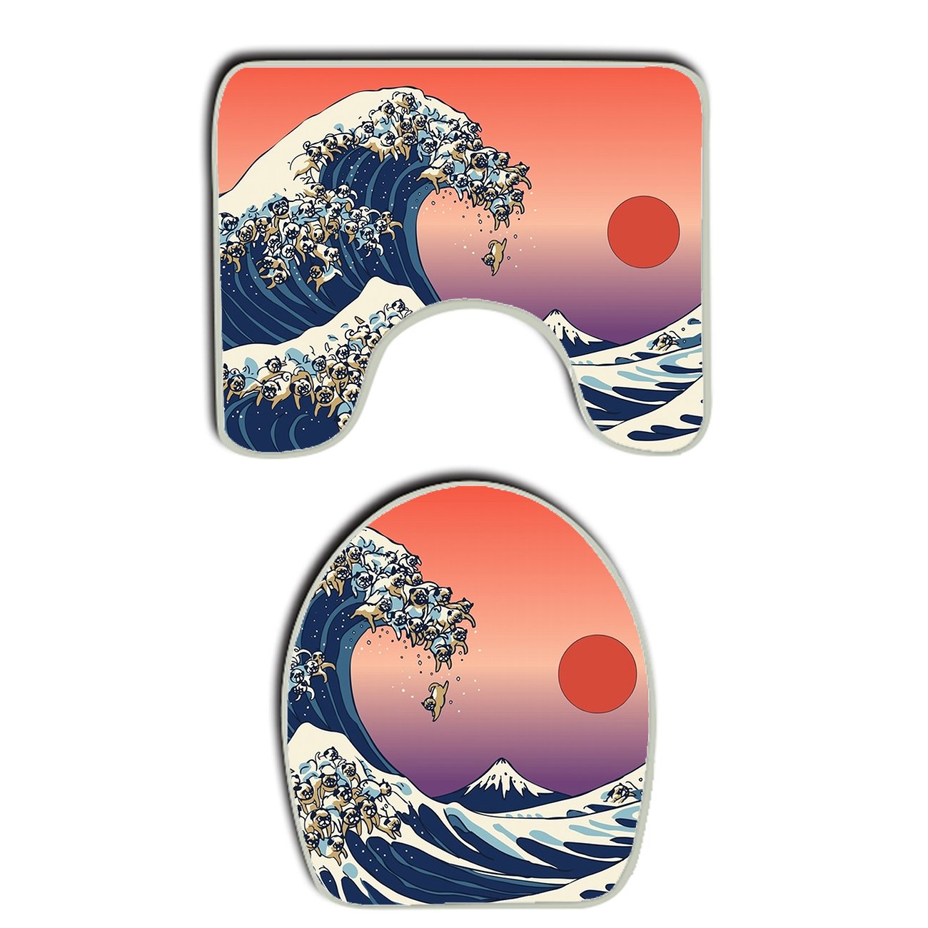durable service AMERICAN TANG Japanese The Great Wave Of Pug ocean funny Pattern Bathroom Carpet Rug, Non-Slip 2 Piece Bathroom Mat Set Decoration