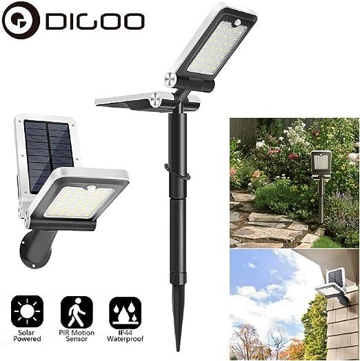 DIGOO Focos solares LED Energía solar para paisajes Luz solar para jardín IP44 a prueba de