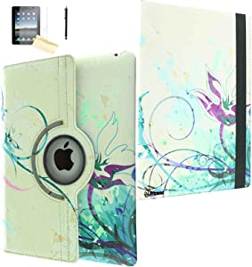 JYtrend iPad Pro 10.5 Case (2017 Model), (R) Rotating Stand Smart Case Magnetic Auto Wake Up/Sleep Cover for iPad Pro 10.5-inch A1701 A1709 MQDW2LL/A MPF02LL/A MQDT2LL/A MPDY2LL/A (Blue Flower)