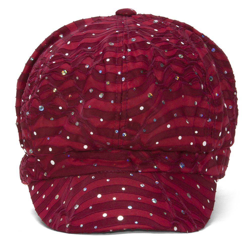 TOP HEADWEAR Women's Glitter Sequin Trim Newsboy Style Relaxed Fit Hat Cap - Wine by TOP HEADWEAR