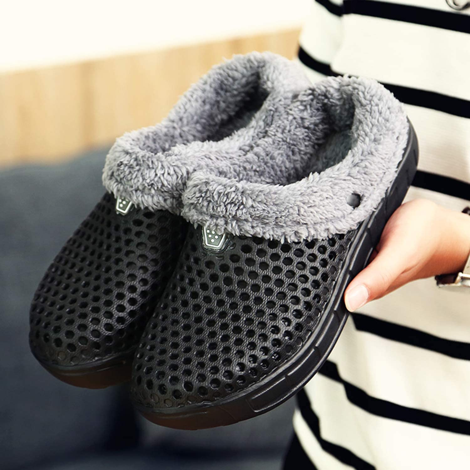 PHILDA Mens Womens Lined Clog Breathable Mesh Lining Indoor Outdoor Walking Garden Clogs Winter Slippers