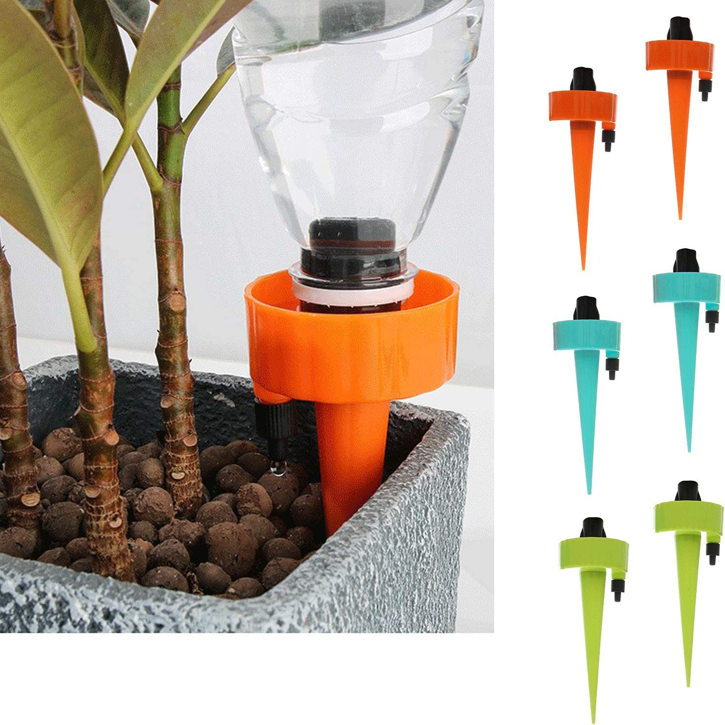 Self Watering Tools, Plant Waterer, Plant Watering System, Pot Plants Watering Devices, Plant Watering Lazy Way, Water The Flowers,Planted Machine,Garden Tools(6 pcs)