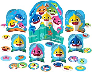 ToyPlaya Birthday Party Supplies Kids Birthday Party Supplies Compatible with Baby Shark Theme Baby Shark Table Decorating Kit 27pc
