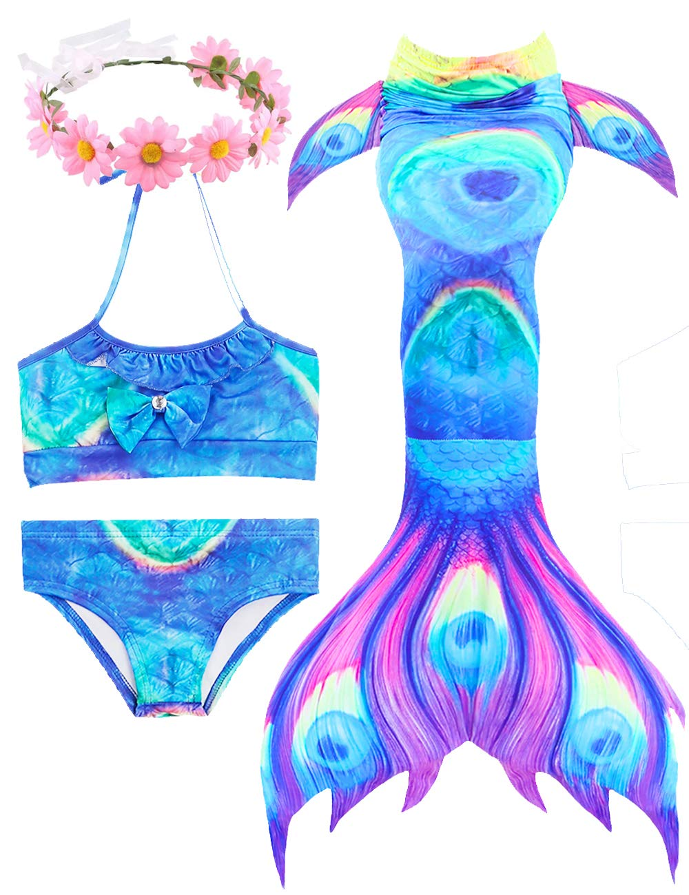 3 Pcs Girls Swimsuit Bikini Mermaid Tails for Swimming Can Add Monofin Prime Deals Summer (Large7-8Y 130, Seablue)