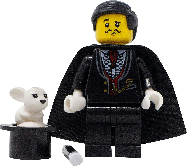 LEGO Magician with Hat Rabbit Custom Magical Man Minifigure and Magic Wand