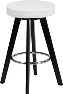 Flash Furniture 2 Pk. Trenton Series 24'' High Contemporary Cappuccino Wood Counter Height Stool with White Vinyl Seat